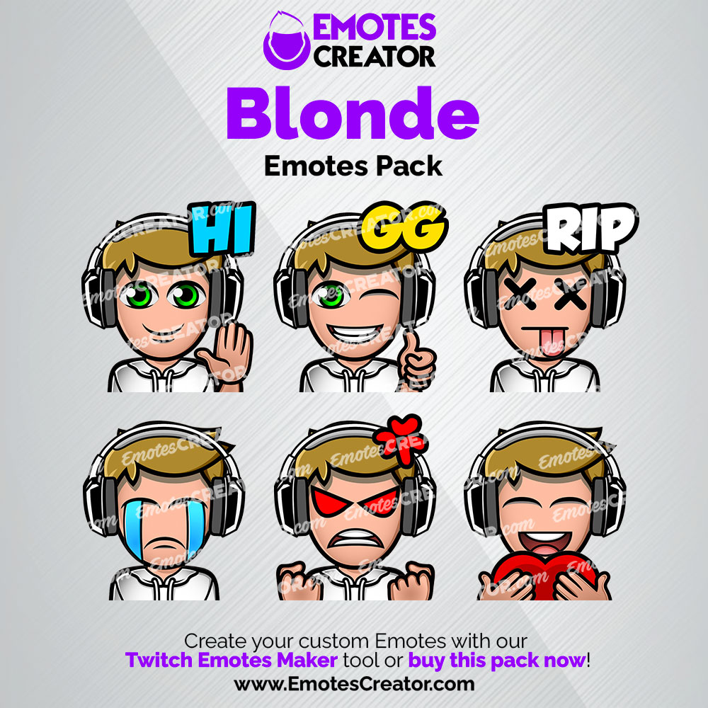 Blonde Twitch Emotes Pack