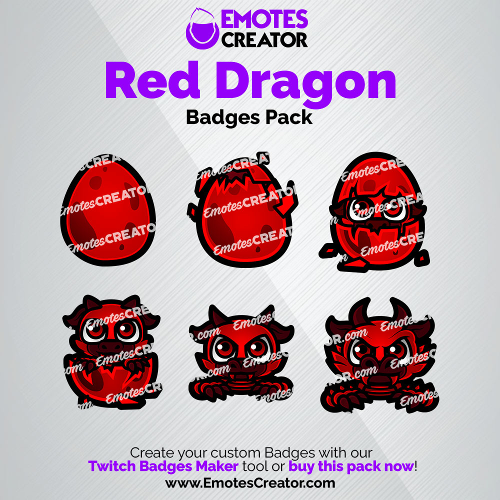 Red Dragon Twitch Badges