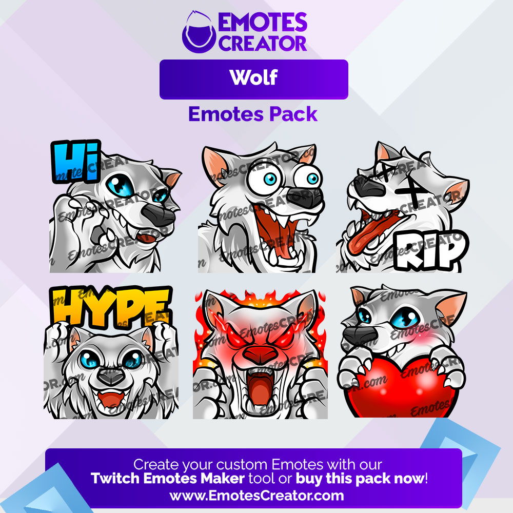 Wolf Twitch Emotes Pack