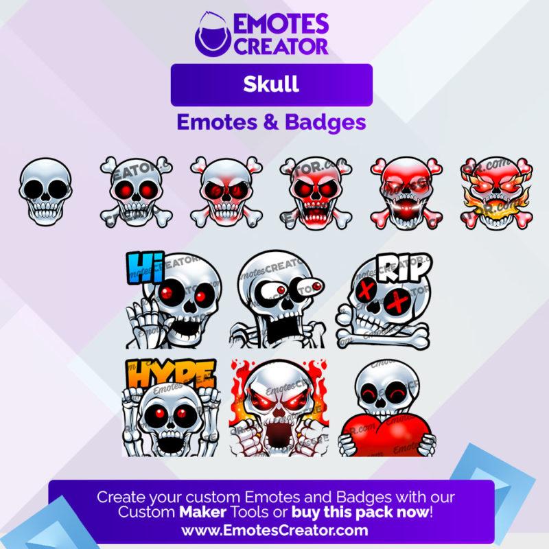 Skull Emotes&Badges Bundle