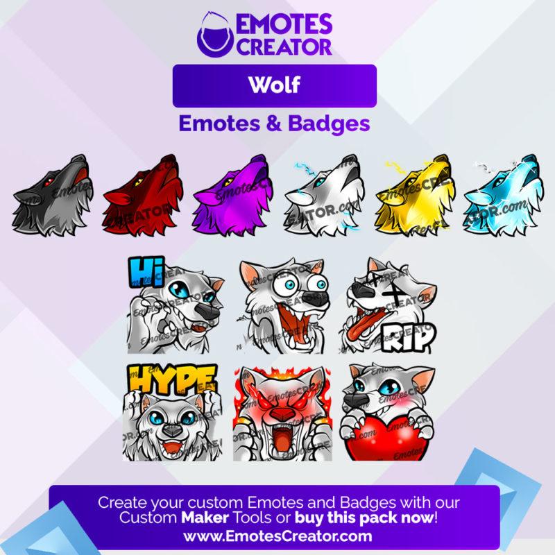 Wolf Emotes&Badges Bundle
